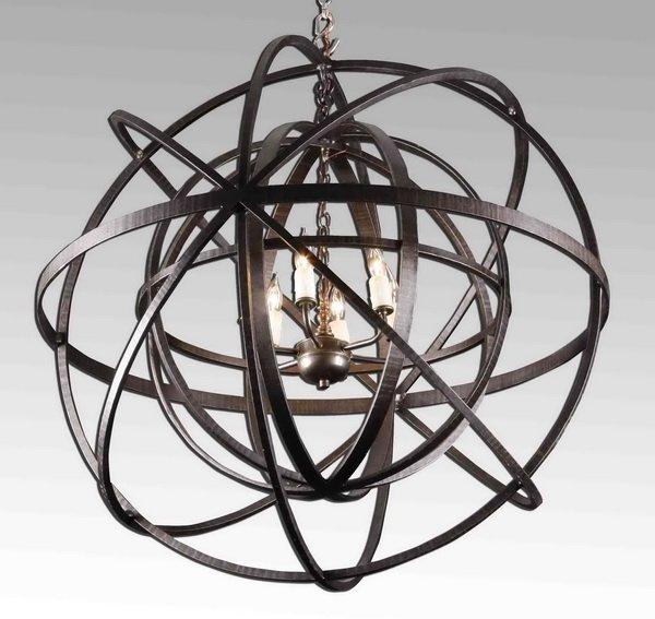 20th c. circular wrought iron chandelier