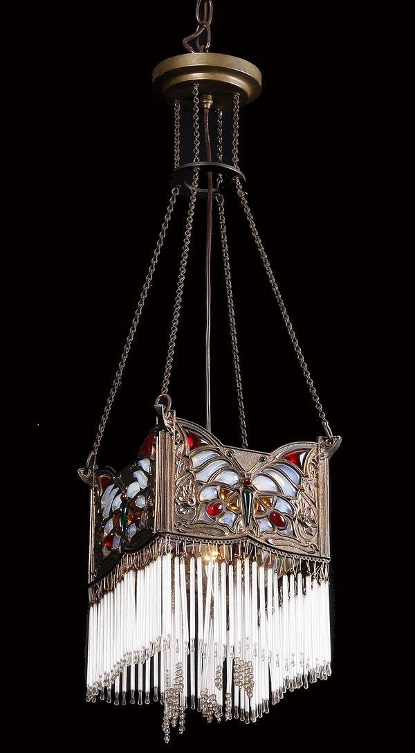 Art Nouveau art glass pendant light