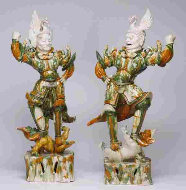 (2) Original Tang Dynasty Lokapala figures