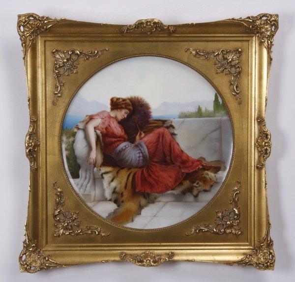 19th c. Limoges framed porcelain plaque