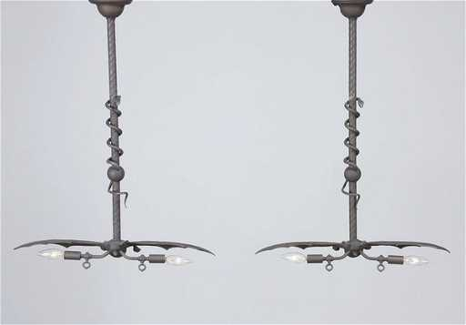 2 Serpent And Winged Bat Light Fixtures