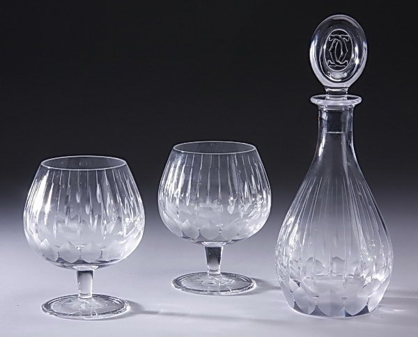 Cartier cut crystal decanter, brandy snifters