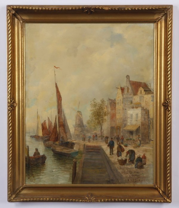 Early 20th c. oil on panel, signed