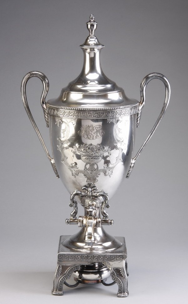 Late 19th c. silver plate coffee urn