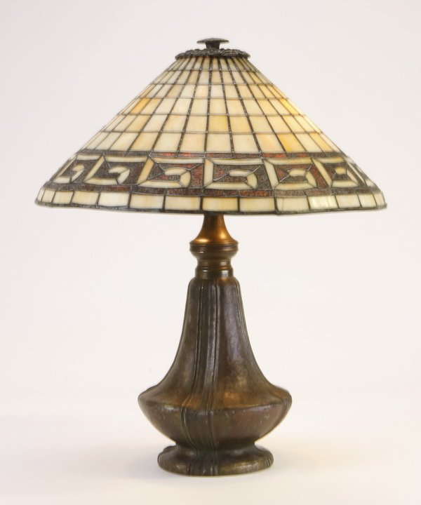 Early 20th c. bronze, slag glass table lamp