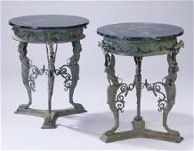 2 Marble top patinated bronze tables