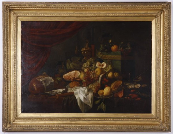 Oversized 19th c. oil on canvas still life