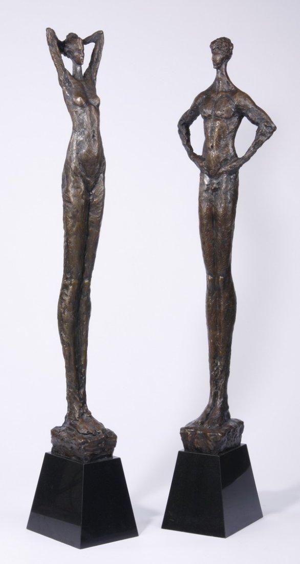 (2) Lifesize Tom Corbin bronze sculptures