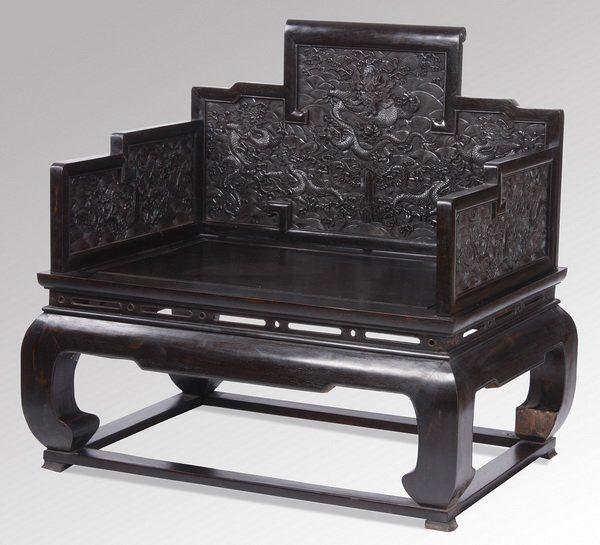 Late 19th c. Chinese carved zitan throne chair