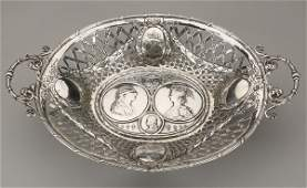 19th c. sterling silver basket, marked