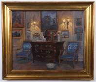 Early 20th c oil on canvas signed