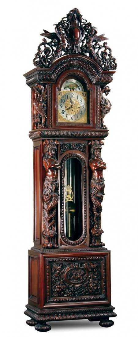 Carved Mahogany Clock After R J Horner