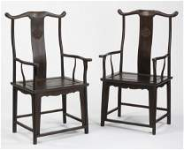 (2) Early 20th c. Chinese zitan armchairs