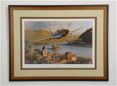 WWII fighter pilot autographed litho