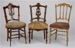 3 Victorian era carved wood chairs