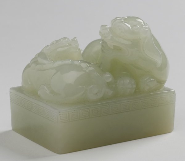 Chinese carved white jade seal