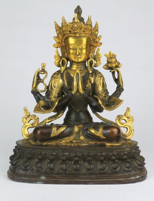 19th c. gilt bronze Avalokitesvara