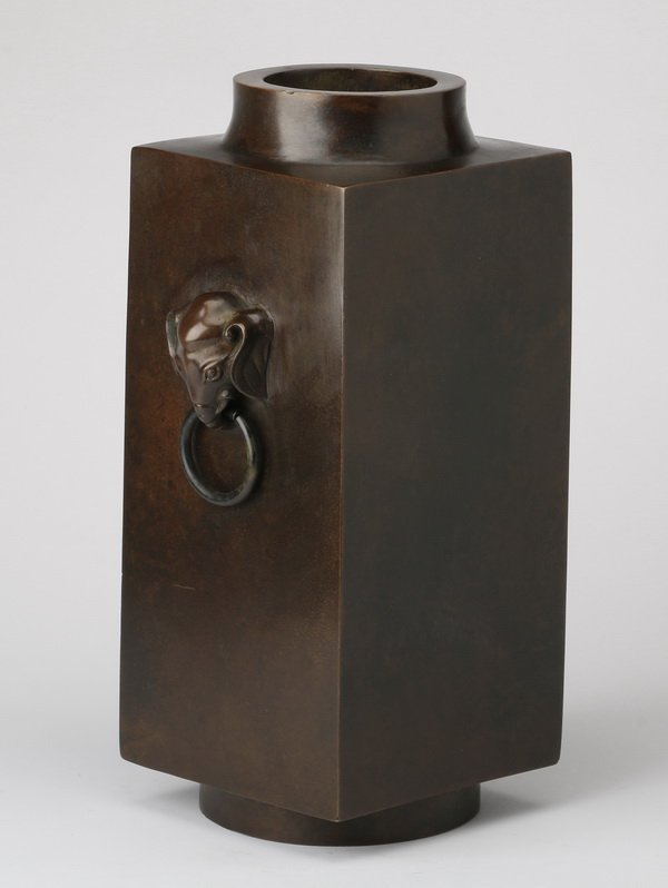 """Chinese cong form bronze vase, marked, 12""""h"""