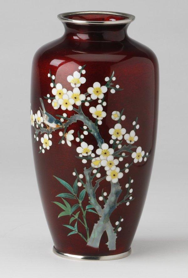 Japanese gin-bari cloisonne' vase