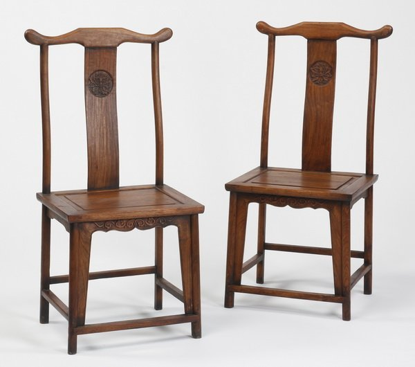 (2) 19th c. Chinese huanghuali carved chairs