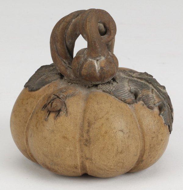 Early 20th c. Chinese Yixing zisha pumpkin