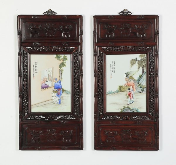 (2) Early 20th c.porcelain plaques, inscribed