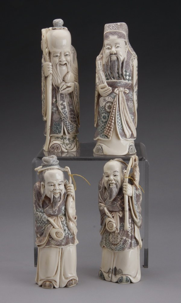 (4) Chinese carved ivory figures