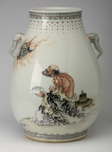 Chinese famille rose porcelain vase, signed