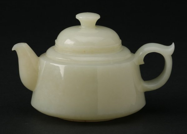 Chinese carved white jade teapot