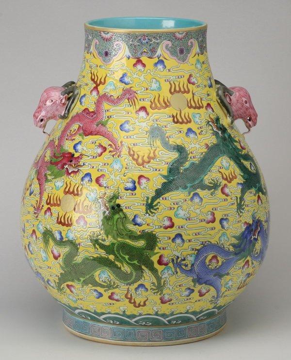 """Chinese porcelain hu vase, Qianlong mark, 19"""""""