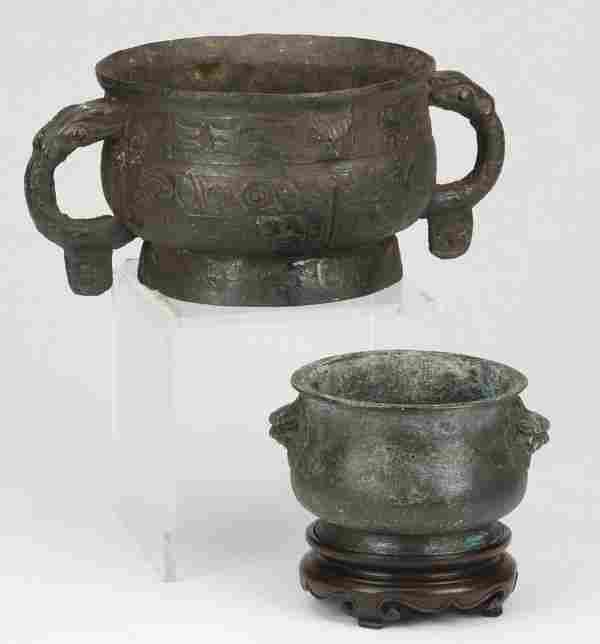 (2) Chinese archaistic bronze censers