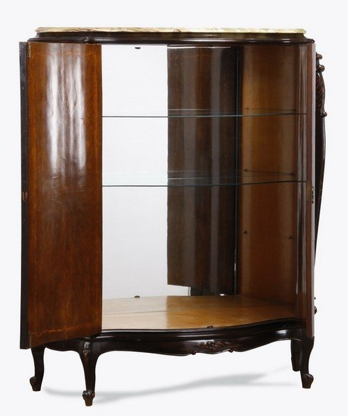 Italian marquetry inlaid double door cabinet - 2