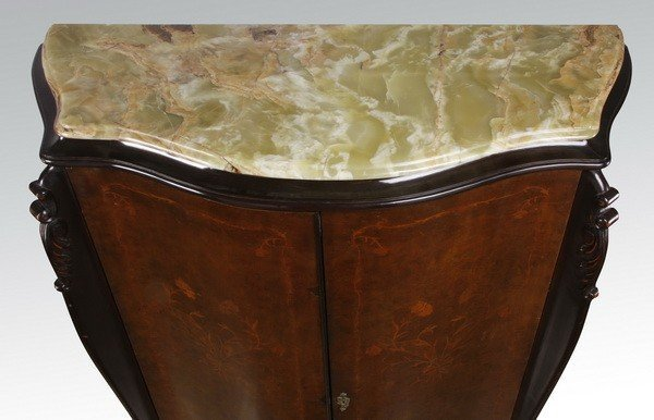 Italian marquetry inlaid double door cabinet - 3