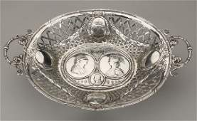 Sterling silver basket, 19th c., marked