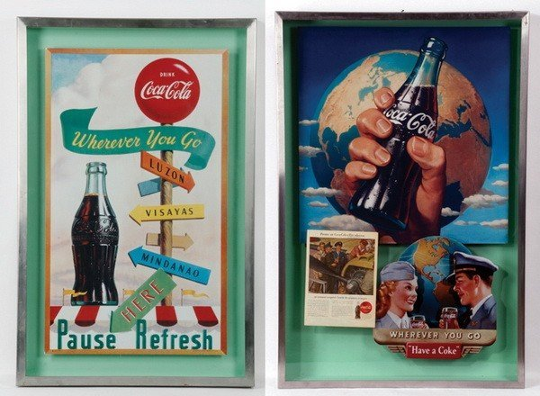 "(2) Vintage-style Coca-Cola shadowboxes, 52""h"