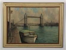 John Millington signed O/c, Thames River