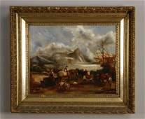 19th c. oil on canvas, pastoral scene
