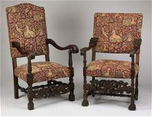 2 19th c carved oak armchairs