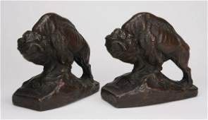 2 Early 20th c bronze clad bison bookends