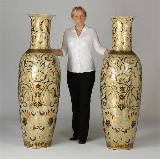 2 Oversized Asian Inspired Floor Vases 62