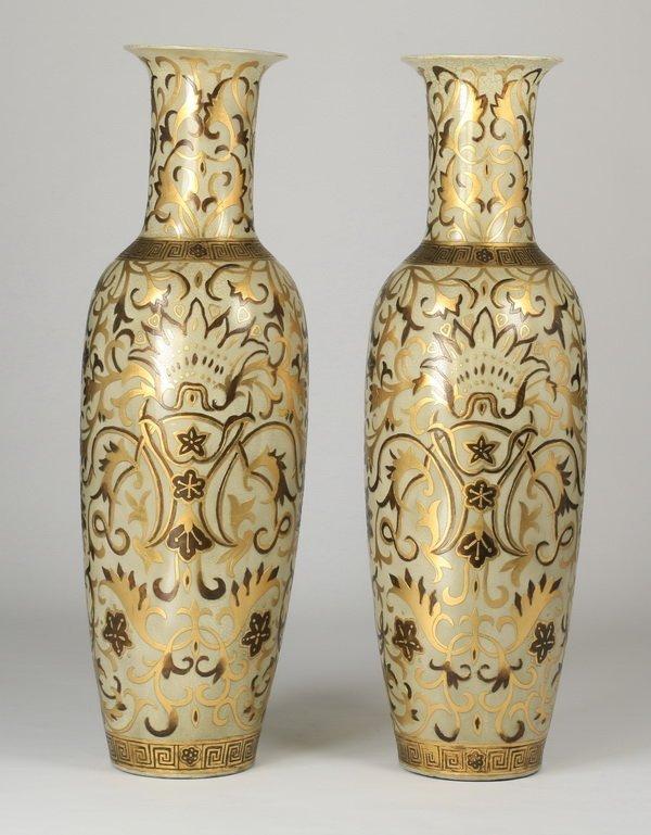 """(2) Oversized Asian inspired floor vases, 62"""" - 2"""