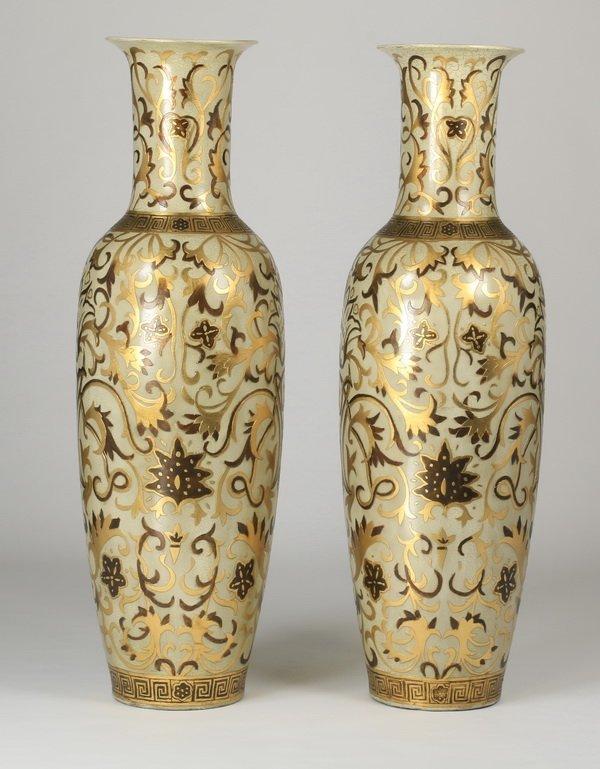 """(2) Oversized Asian inspired floor vases, 62"""" - 3"""