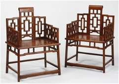 (2) 19th c. Chinese huanghuali armchairs