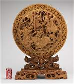 Chinese carved wood plaque with warriors