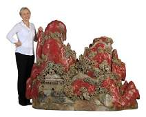 Monumental Chinese soapstone, agate sculpture