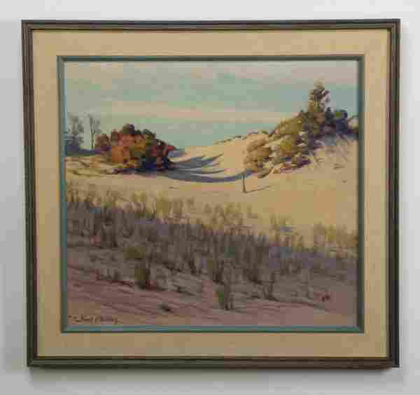 Frank V. Dudley signed O/c, sand dunes