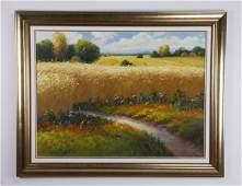"Gerhard Nesvadba signed O/c landscape, 59""w"