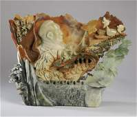 Chinese carved agate and soapstone sculpture