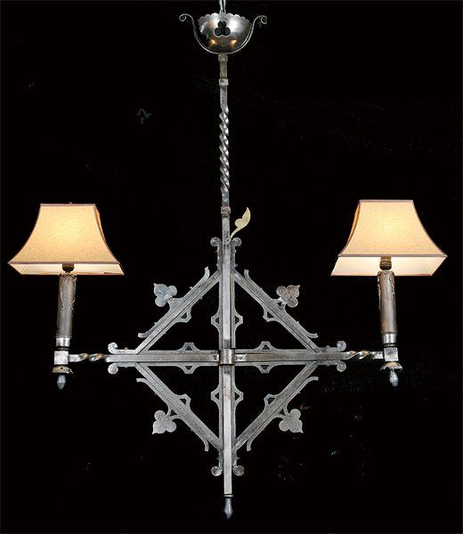 19th c. French wrought iron chandelier