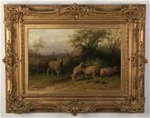 George Riecke signed O/c, rural scene, 19th c